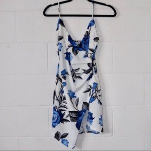 Blue rose fitted dress